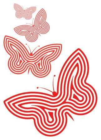 spirale: Vier Spiraleschmetterlinge Überschußweiß