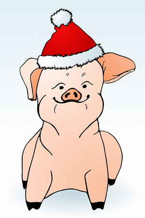 Christmas Piggy Vector