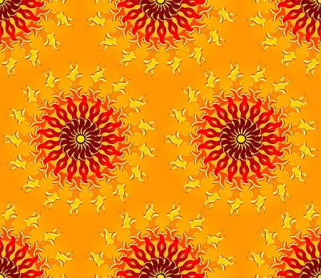 Seamless Sun Pattern Vector