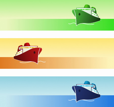 cargo ship: Maritime Banners Illustration