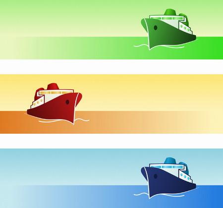 cargo vessel: Maritime Banners Illustration