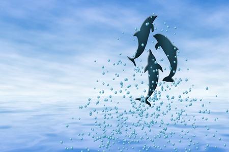Dolphin Play Illustration