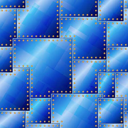 lamiera metallica: Seamless Pattern rivettata Blue Plate Vettoriali