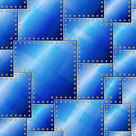 metal mesh: Seamless Riveted Blue Plate Pattern Illustration