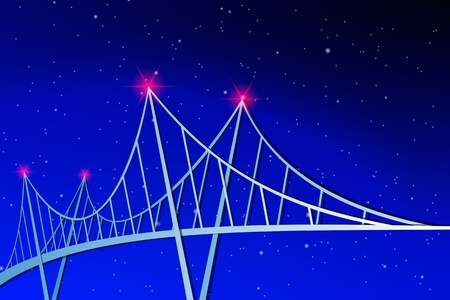 bridge construction: Suspension Bridge Illustration