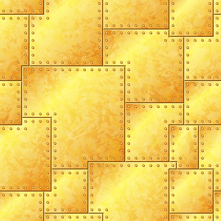 Seamless Stained Gold Riveted Plate Background Illustration