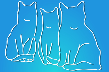 tomcat: Three Cats Illustration