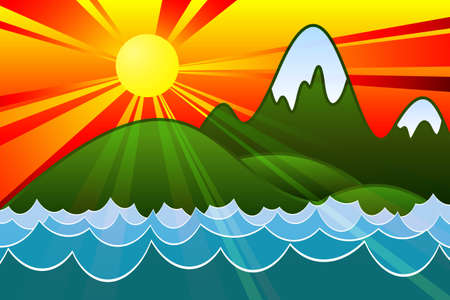 island clipart: Sunset Island