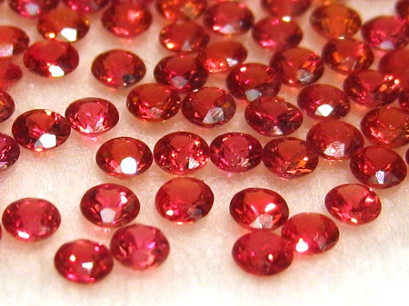 Group of little faceted rubies photo
