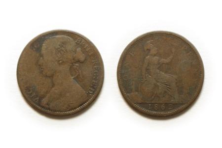 britannia: 1862 british one penny coin