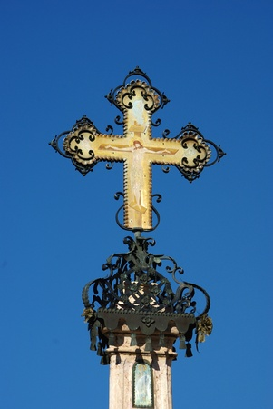 plague: Ornate orthodox cross on top of plague pillar. Szentendre, Hungary Stock Photo