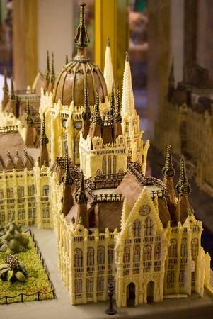 parliament: Hungarian parliament made of chocolate. Marzipan museum, Szentendre, Hungary.