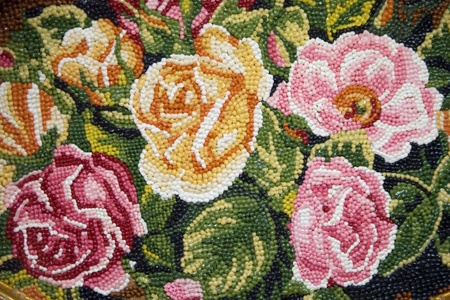 flowered: Flowered pattern made of marzipan. Marzipan museum, Szentendre, Hungary.