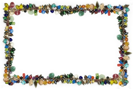 gauzy: frame of color glass beads Stock Photo