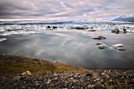 The sun sets over the famous glacier lagoon at Jokulsarlon