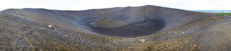 Hverfjall is a tephra cone or tuff ring volcano in northern Iceland  Stock Photo