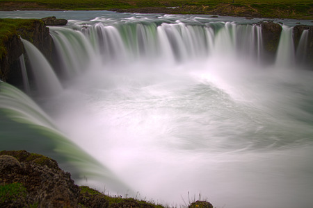 Godafoss is a very beautiful Icelandic waterfall  It is located on the North of the island not far from the lake Myvatn and the Ring Road