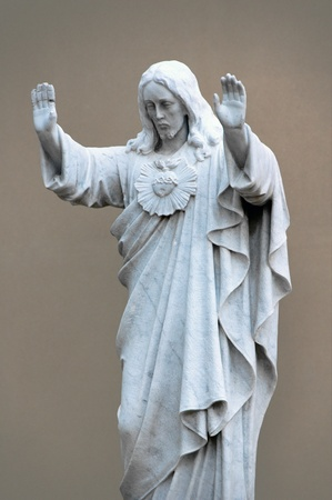 jesus statue: Jesus with the broken hand  traditional imagery