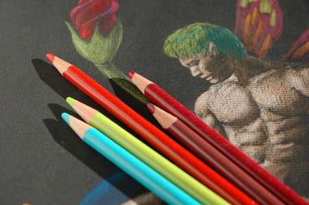fantasy drawing and the colored pencils i drew it with  Stock Photo