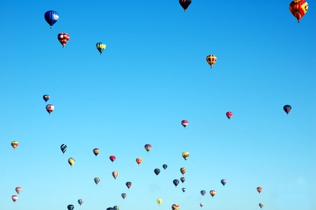 a sky full of balloons in new mexico Stock Photo