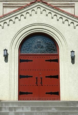 solidly built door to a church in albuquerque new mexico photo