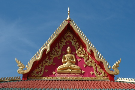 traditional architecture and decorations on a Buddhist temple in Albuquerque New Mexico