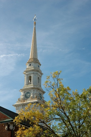 detail of an Early American church in Maine Stock Photo