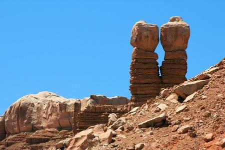 rugged terrain: Landmark formation on the border of Utah and Arizona, The Navajo Twins