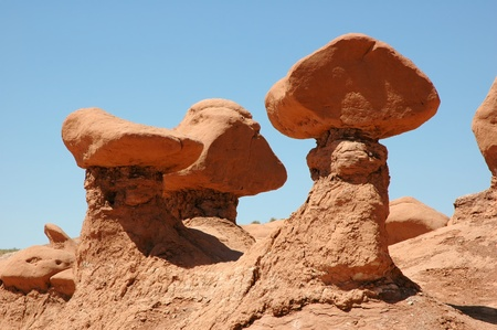 strange rock formations in Goblin Valley State Park Utah Stock Photo