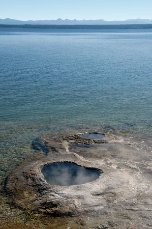 Hot spring and geyser in Yellowstone Lake, Wyoming