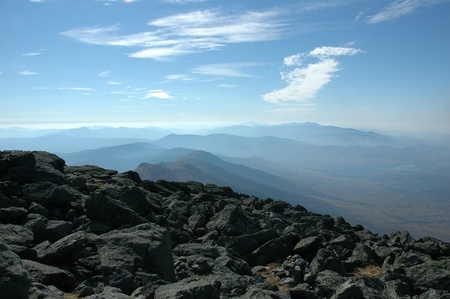 view of the presidential range from the top of mount washington