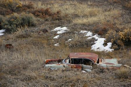 arroyo: Dead car in the arroyo