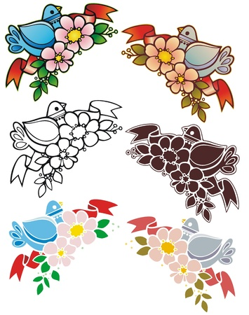 antiqued: corner elements with sixties style bird  Includes antiqued color versions, stencil and black outline