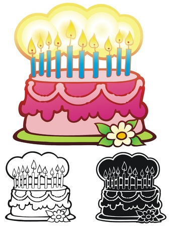 Fancy birthday cake with ten candles  Comes with inverse and black outline versions