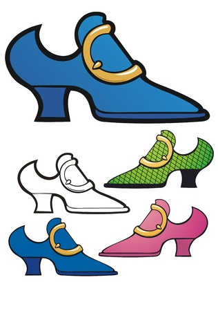 tacky: elegant old fashioned shoe with a big brass buckle, includes non-gradient, black outline, pink and green