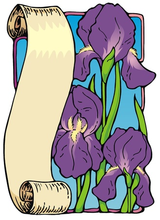 useful: Decorative scroll with irises, useful as a bookplate or border, springtime motif