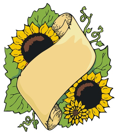 Scroll type bookplate or frame, decorated with sunflowers Stock Vector - 19553184