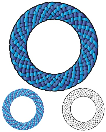 circular border of blue and purple braided strands, similar to Celtic knotwork  Illustration