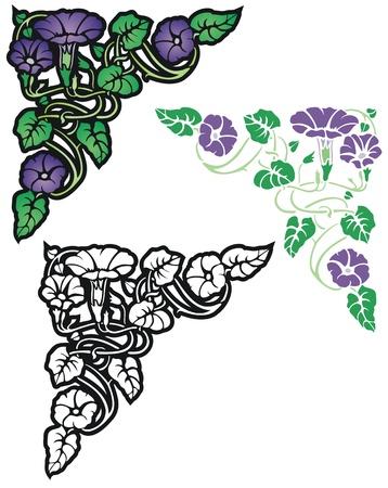 stile liberty: Art Nouveau stile ornamento floreale, con alterna Vettoriali
