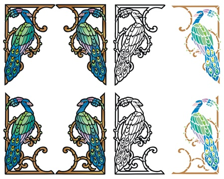 Peacock border   Art Nouveau style corner ornaments in four variations Illustration