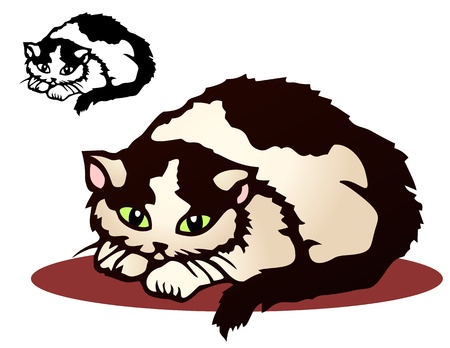 Shy cat in the style of Chinese cut paper art  Comes with black only version