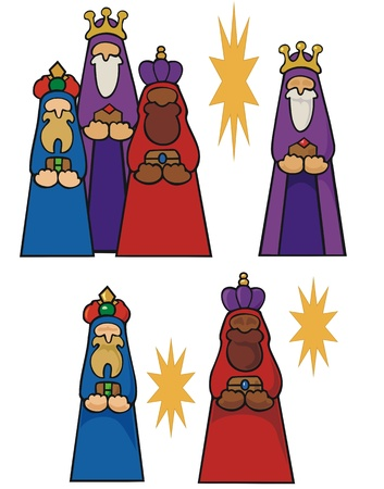 creche: Traditional three kings bearing gifts to the christ child at its birth