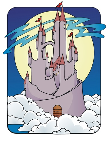 Fantasy castle in the clouds, with a full moon