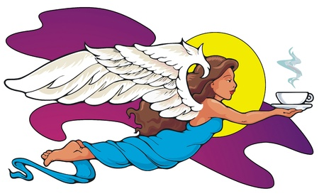 caffeine: Coffee Angel   She brings the blessing of caffeine to morning people everywhere  Illustration