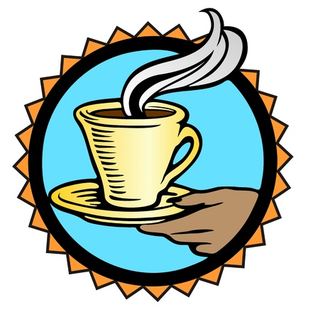 steaming: steaming hot coffee offered by a brown, feminine hand  Illustration