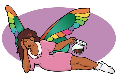 caffiene: The Decaf Fairy  The Coffee Fairy s lazy younger sister   Mellow in her nightshirt and socks  Illustration