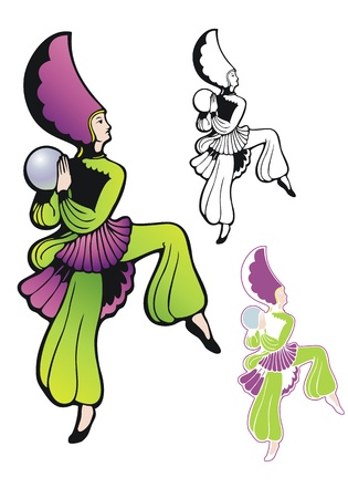 fanciful: Twenties style dancer  Comes with stencil and black outline versions