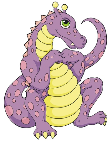 humorous: A humorous coloring book style pink and purple dragon