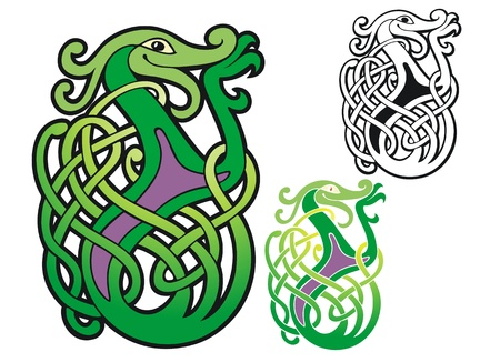 Happy Celtic dragon with three tangled tails  Stock Vector - 19553671