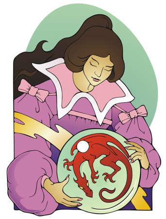 mystic: Mystic woman envisioning a dragon inside a crystal ball  Illustration